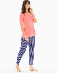 Cool Nights Short Sleeve/Ankle Pants Pajama Set Heritage Stripe Coral