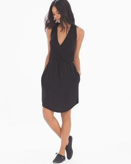 French Terry Sleeveless Short Dress Black