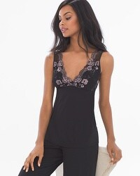 Flirtation Plunging Pajama Cami Black