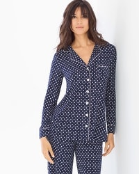 Cool Nights Long Sleeve Notch Collar Pajama Top Delightful Dot Navy