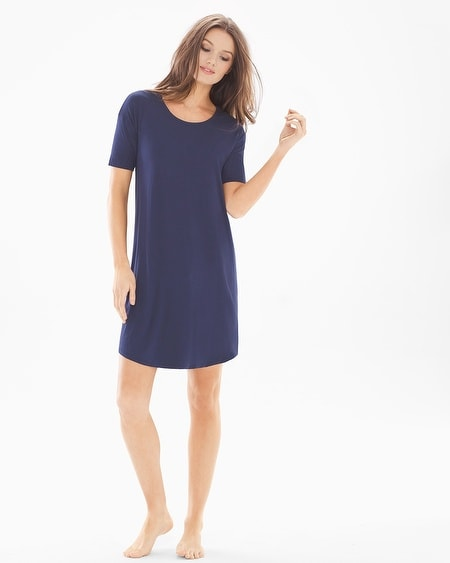 Loose Fit Short Sleeve Sleepshirt Navy