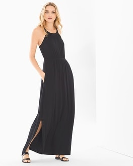 Cross Back Halter Maxi Dress Black