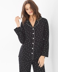 Crepe de Chine Long Sleeve Notch Collar Pajama Top Festive Dot Mini Black