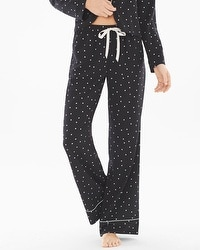Crepe de Chine Pajama Pants Festive Dot Mini Black