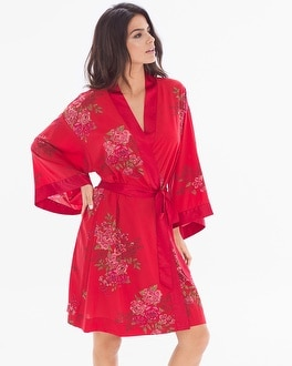 Chiffon Short Robe Garden Affair Ruby