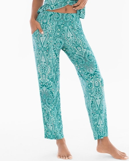 Contast Piped Ankle Pajama Pants Springtime Paisley Ivy