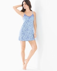 Cool Nights Lace Trim Swing Sleep Chemise Tranquil Palm Baja Blue