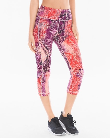 Crop Leggings With Side Pocket Ombre Paisley Grenadine