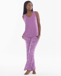 Cool Nights Tank/Pants Pajama Set Poetic Prose Plum Wine