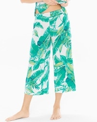 Cool Nights Full Pajama Crop Pants Lush Leaves Deep Lake