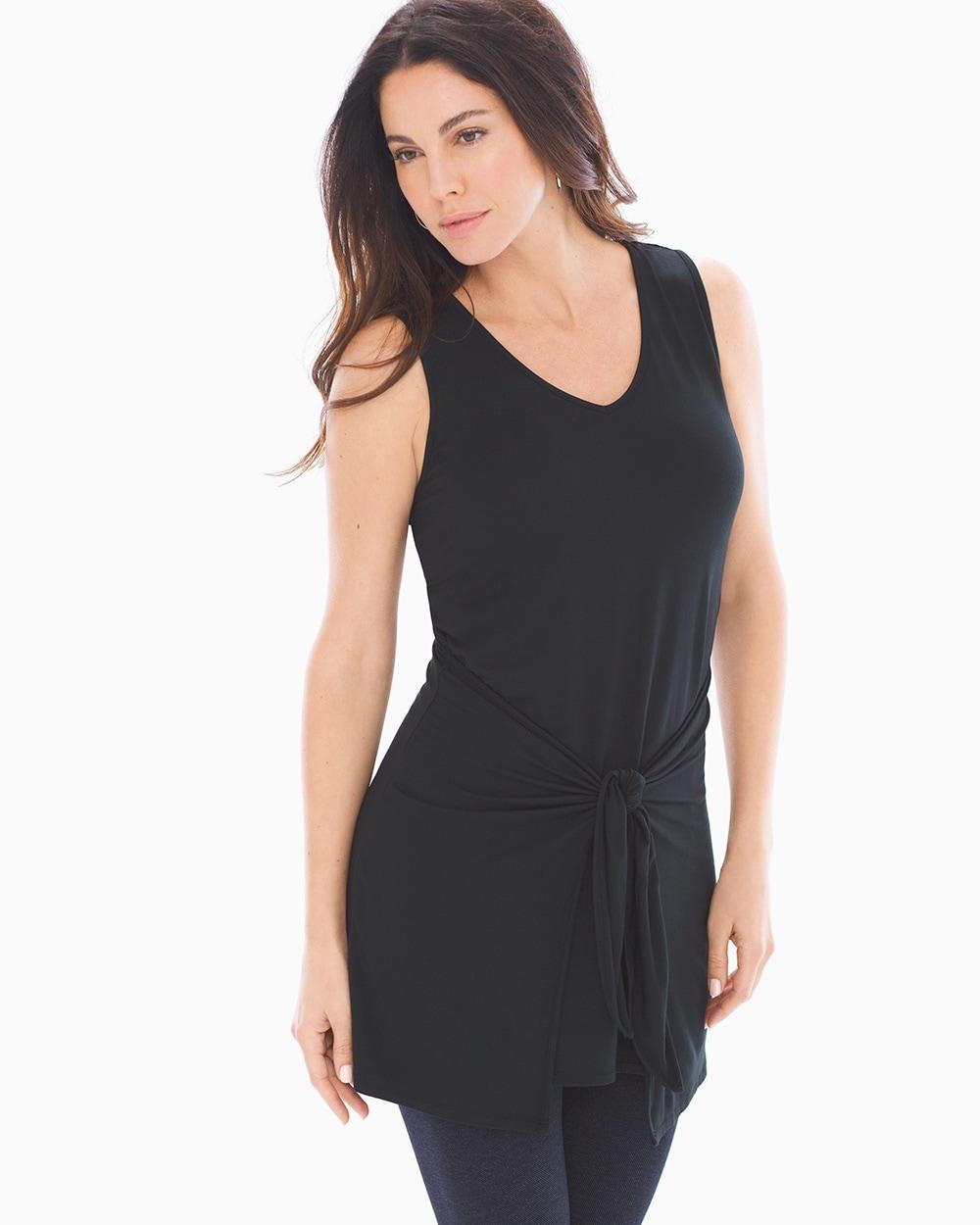 7d2db97e95073 Soft Jersey Knot Front Sleeveless Tunic Black - Soma