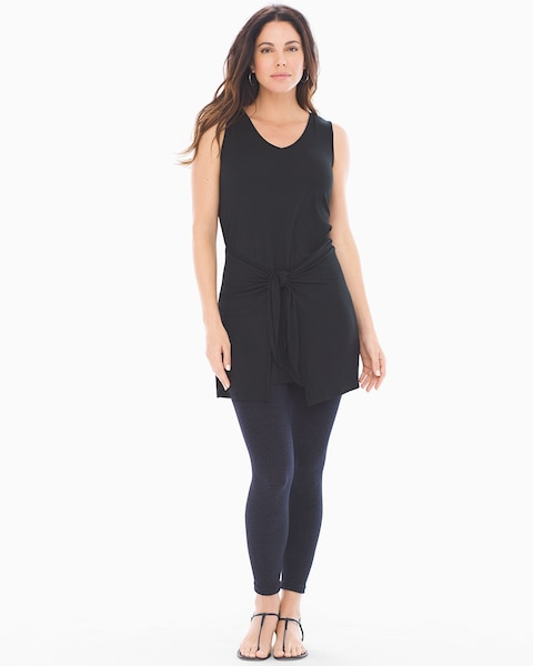 b51833ebaae7e Return to thumbnail image selection Soft Jersey Knot Front Sleeveless Tunic  Black