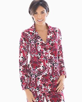 afcb5f1f6e1ba Embraceable Long Sleeve Notch Collar Pajama Top Refined Damask
