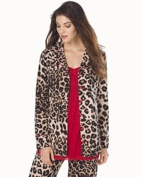 Embraceable Long Sleeve Pajama Top Lovely Leopard Soft Tan