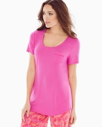 Cool Nights Short Sleeve Pajama Tee with Pocket Rose Violet