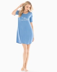 Cool Nights Loose Fit Short Sleeve Sleepshirt Rose Made Me Do It Blue