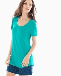 Embraceable Cool Nights Short Sleeve Pajama Tee with Pocket Rainforest
