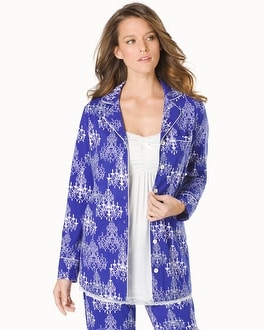 Embraceable Long Sleeve Pajama Top Chandeliers Jewel Blue