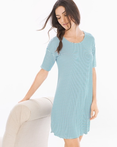 Loose Fit Short Sleeve Sleepshirt Infinite Stripe Blue