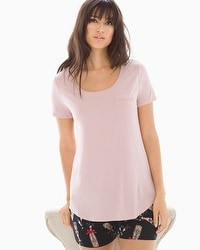 Cool Nights Short Sleeve Pajama Tee with Pocket Vintage Pink