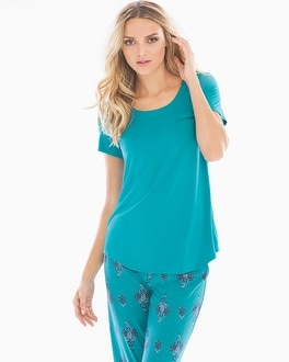 Embraceable Cool Nights Short Sleeve Pajama Tee with Pocket Pagoda Blue