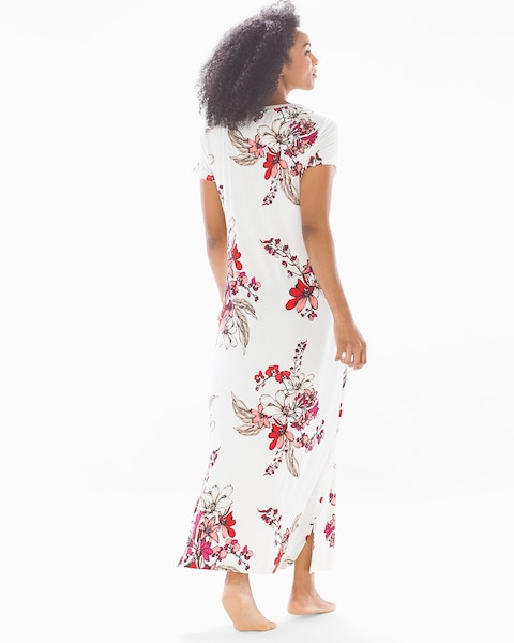 8cb89229cb58d Cool Nights Short Sleeve Long Sleepshirt Floral Affair Ivory - Soma