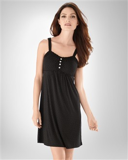 Embraceable Cool Nights Mini Dot Black Chemise