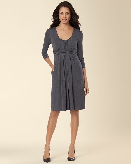 3/4 Sleeve Wrapped Waist Dress Heather Quartz