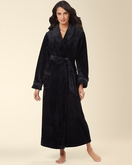 Plush Long Robe Black