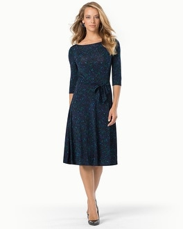 Leota Ilana 3/4 Sleeve Scoop Dress Illuminescent Blue