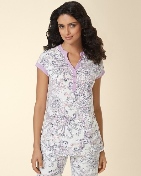 Pop Over Pajama Top Passport Paisley Ivory