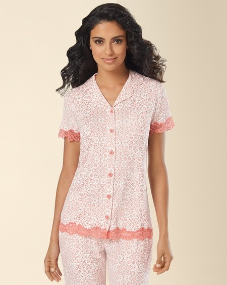 Notch Collar Lace Short Sleeve Pajama Top Capri Tile Coral Hype