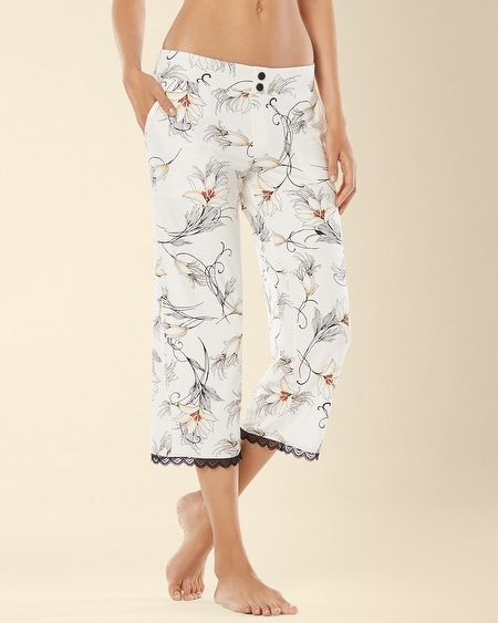 Crop Lace Pajama Pant Glamour Floral Ivory