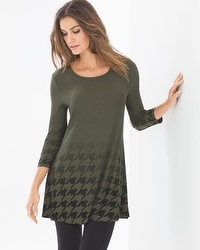 Live. Lounge. Wear. 3/4 Sleeve Swing Tunic Houndstooth Ombre Dark Olive