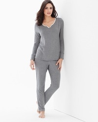 Cozy Fleece Long Sleeve Pajama Set Little Dot Heather Graphite