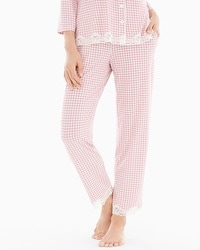Embraceable Cool Nights Lace Trim Ankle Pajama Pants Gingham Blush Pink