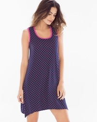 Cool Nights Sleeveless Sleepshirt Mod Dot Navy/Rose Violet