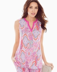 Embraceable Cool Nights Sleeveless Pajama Top Cape Paisley Rose Violet