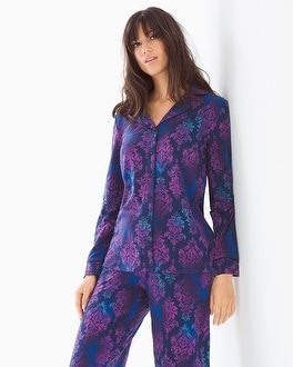 Embraceable Long Sleeve Notch Collar Pajama Top Ombre Noir Paper Navy