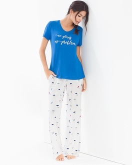 Cool Nights Short Sleeve Pajama Set Lazy Days Capri
