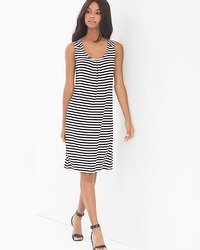 Sleeveless Pleat Front Short Dress Posh Stripe Black White