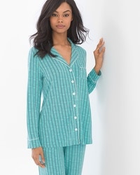 Cool Nights Long Sleeve Notch Collar Pajama Top Heritage St Teal Treasure