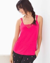 Cool Nights Pajama Cami With Lace Pink Punch