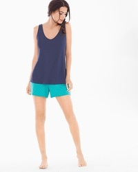 Cool Nights Tank and Shorts Pajama Set Interlock Geo Navy