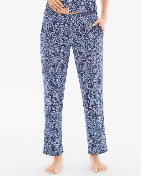 Cool Nights Contast Piped Ankle Pajama Pants Provincial Faire Navy