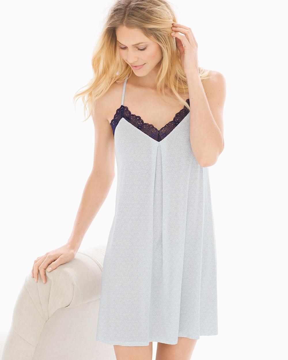 74ce8814c Cool Nights Lace Trim Sleep Chemise Zen Stripe Pale Blue - Soma