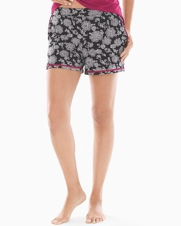 Satin Trimmed Pajama Shorts Elegant Lace Black by Cool Nights