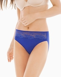 Vanishing Edge Microfiber with Lace High Leg Brief