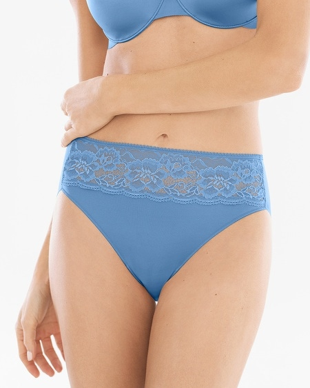 Microfiber with Lace High Leg Brief