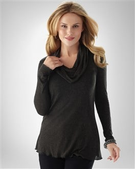 Miraclebody Denim Cozy Cowl Neck Top